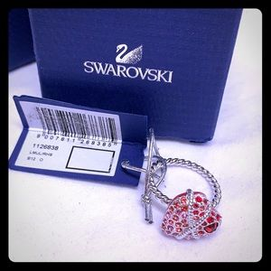 Swarovski Roxanne red heart crystal ring 55 7